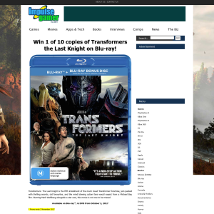 Win one of ten copies of Transforners: The Last Knight on bluray