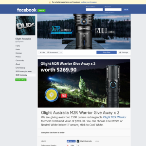 Win one of two 1500 Lumen rechargeable Olight M2R Warrior torches! Combined value of $269.90.