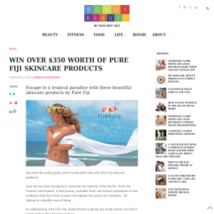 Win over $350 worth of Pure Fiji skincare products