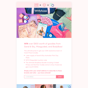 Win over $900 worth of goodies from Sand & Sky, Missguided, and BodyBoss