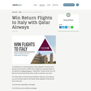 Win Return Airfares for Two to Italy
