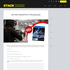 Win Star Wars Battlefront II PS4 prizes