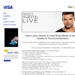 Win the chance to meet Ricky Martin in the flesh! (VISA Customers Only)
