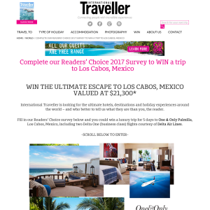 Win the ultimate getaway to Los Cabos, Mexico!