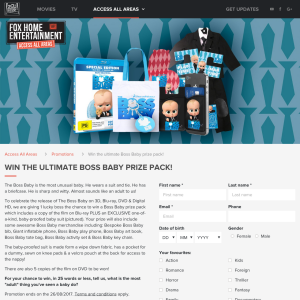 Win the ultimate The Boss Baby prize pack
