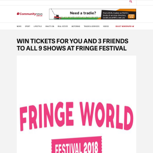 Win tickets for you and 3 friends to all 9 shows of Fringe Festival