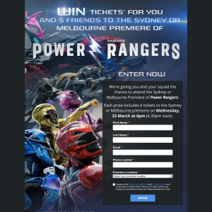 Win tickets for you & 5 friends to the Sydney or Melbourne premiere of 'Saban's Power Rangers'! (NSW & VIC Residents ONLY)