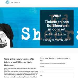 Win Tickets to see Ed Sheeran in concert