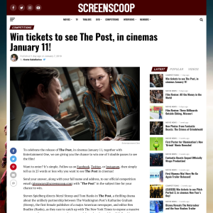 Win tickets to see The Post