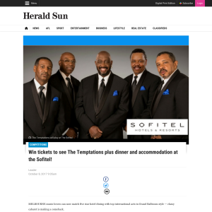 Win tickets to see The Temptations plus dinner and accommodation at the Sofitel