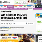 Win tickets to the 2014 Toyota AFL Grand Final