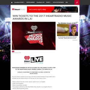 Win tickets to the 2017 iHeartRADIO Music Awards in LA! (Registered iHeartRADIO Users ONLY)