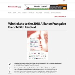 Win tickets to the 2018 Alliance Française French Film Festival