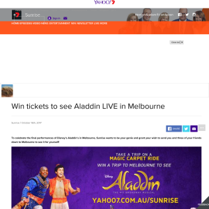 Win trip for four to Melbourne to see Aladdin