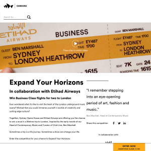 Win two Business Class flights to London with Etihad Airways