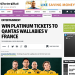 Win two platinum tickets to see the Qantas Wallabies take on Les Bleus at Suncorp Stadium on Saturday 7 June.