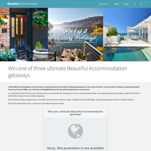 Win your ultimate 'Beautiful Accommodation' getaway! (Flights NOT Included)